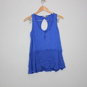 Anthropologie Little Yellow Button Signe Tank Top